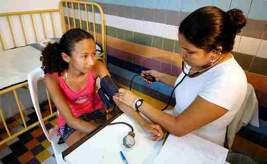 Brazilian sponsored child gets health check up
