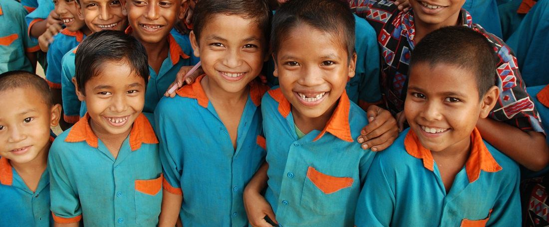 Smiling group of Bangladeshi boys