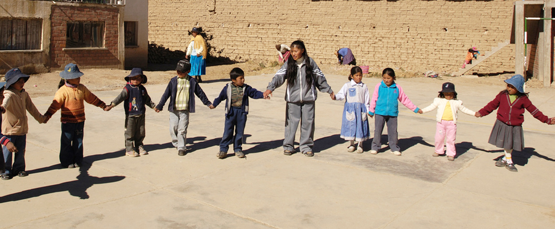 Children playing at the project