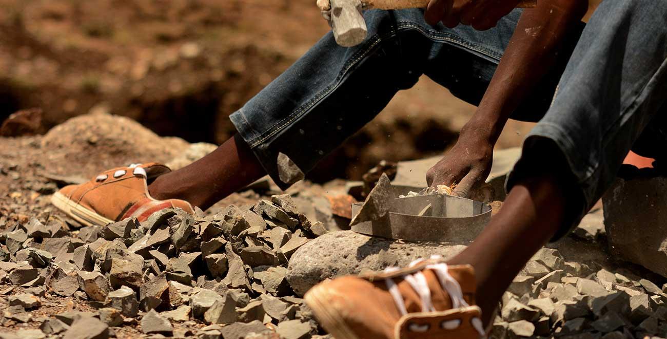 Breaking stones in Kenya