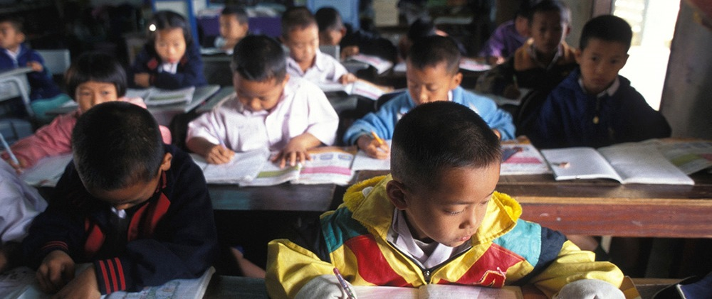 7-year-old Samon, a Compassion sponsored child, in his classroom in Thailand