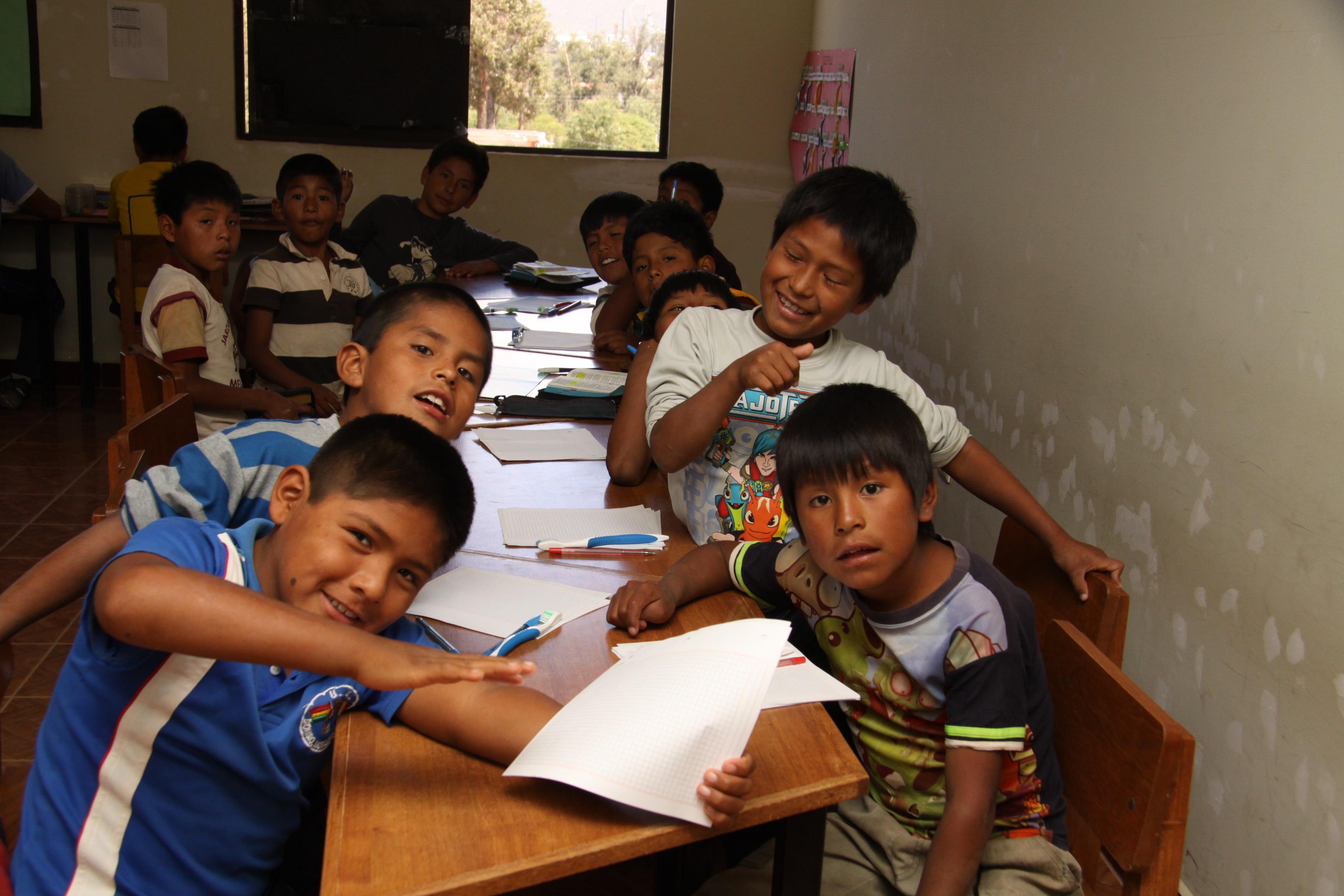 Bolivian sponsored children in classroom