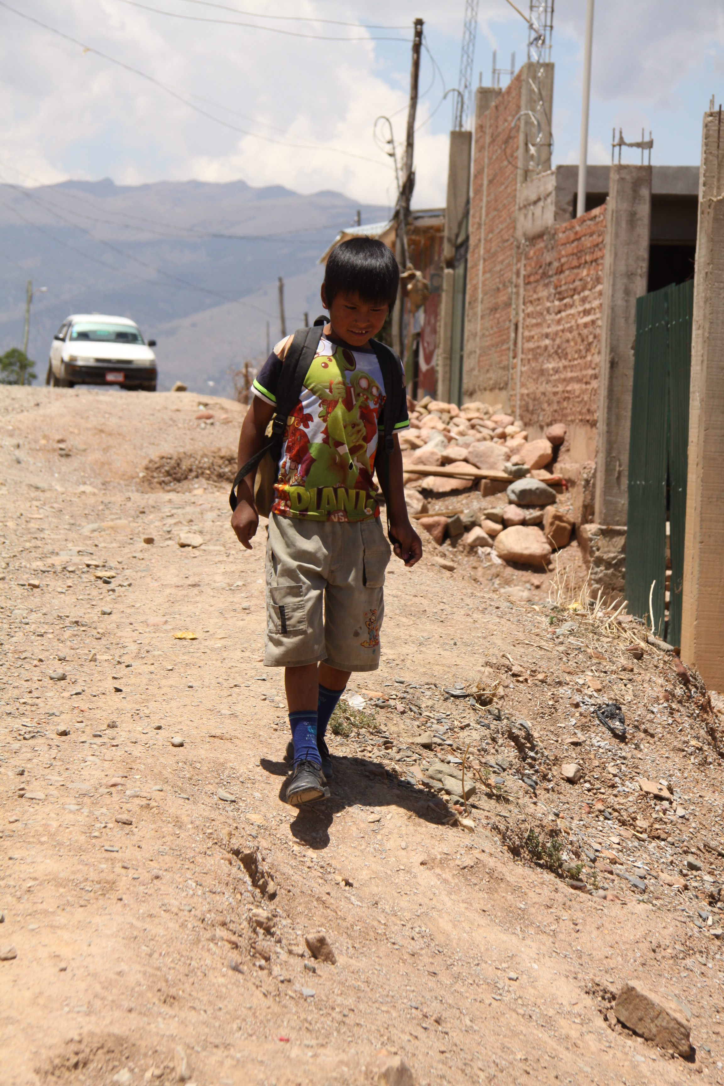 Sponsored child Jose walks to school