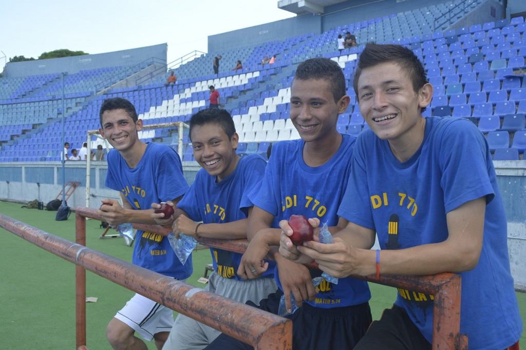 Jimmy training with his friends at the stadium