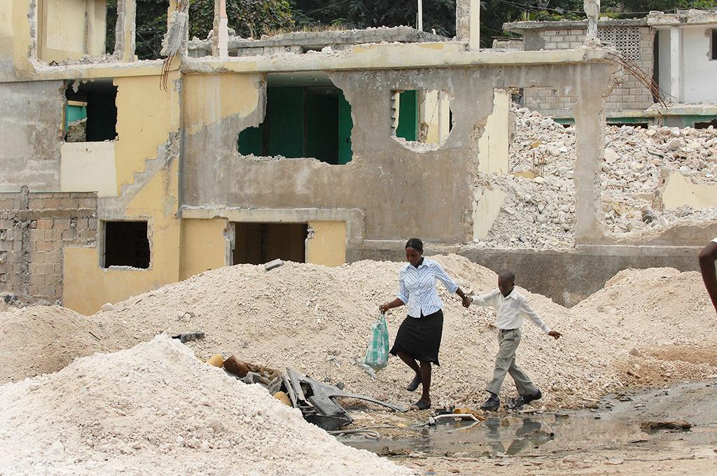 Walking through the rubble in Haiti