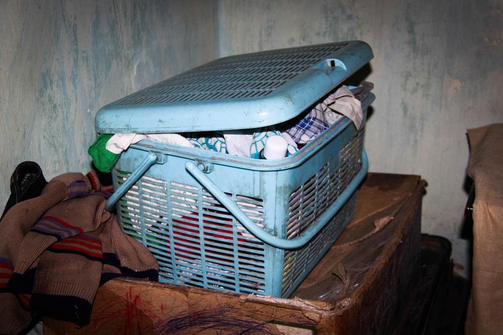 Dharsan's blue box of belongings