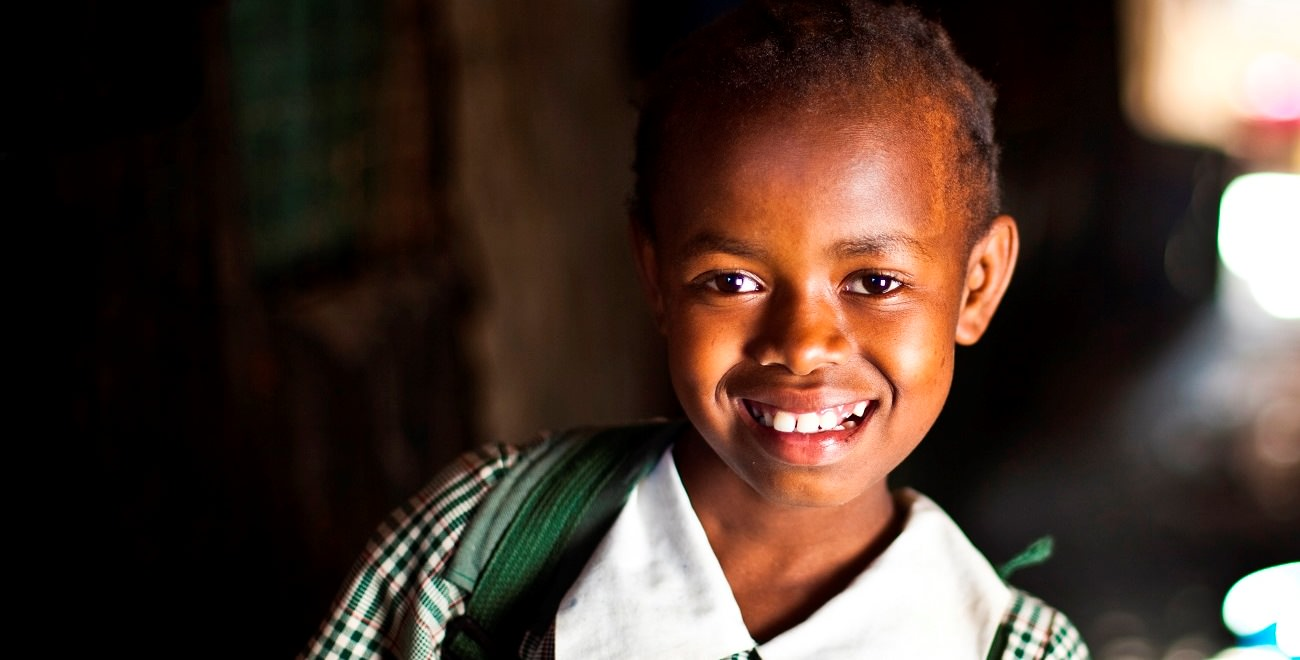 Girl with school uniform in Kenya