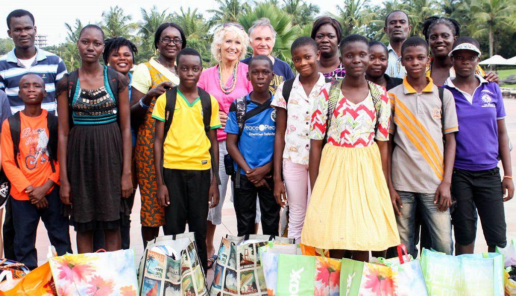 Elizabeth with her Ghanian sponsored children