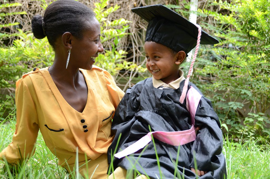 Mesay with her son about to graduate from Compassion's Child Survival Programme