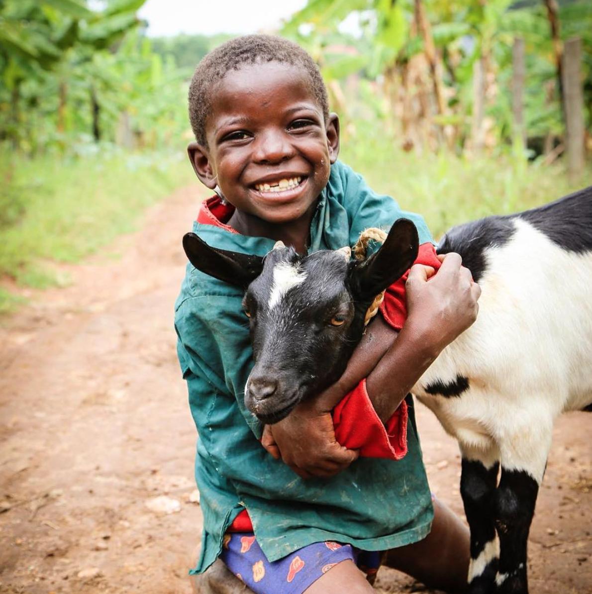Kenyan boy hugs a goat