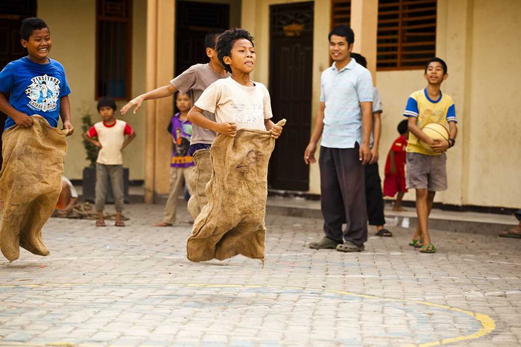 Sack race in Indonesia