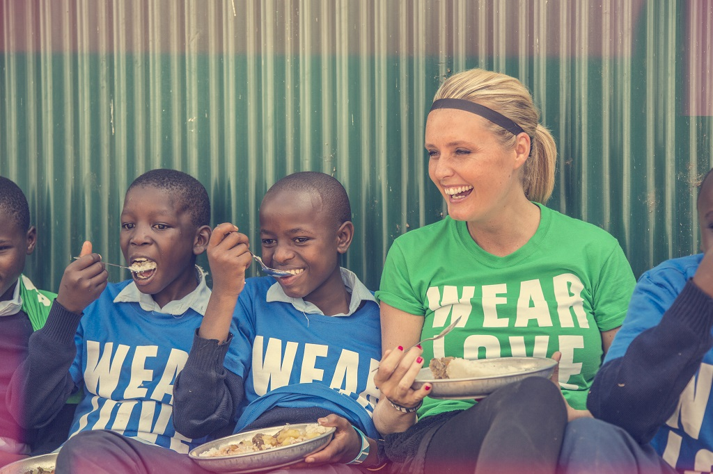 Charlotte Gambill visiting a Compassion project