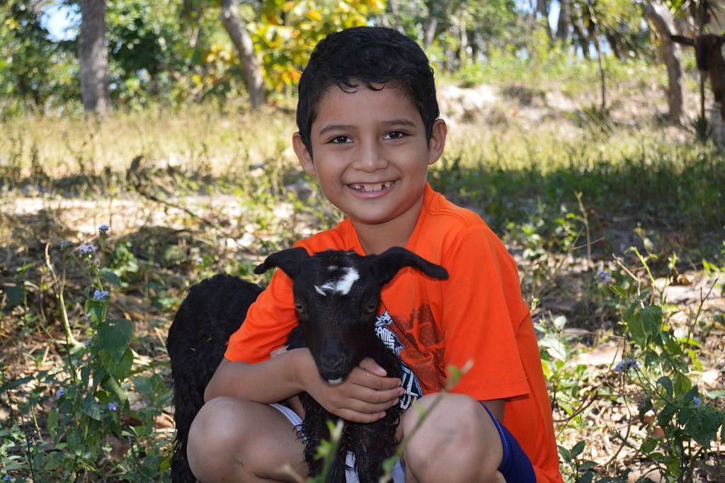 Cruz with a goat