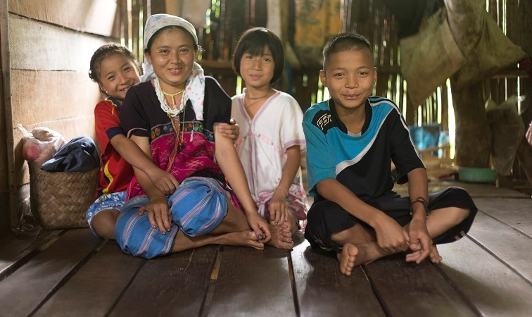 Family in rural Thailand