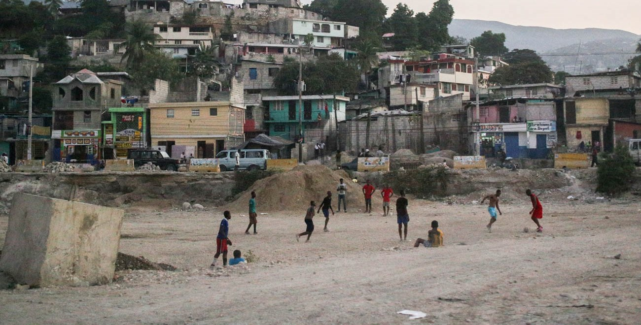Playing football in Haiti
