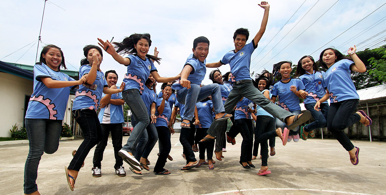 Philippines teenagers jumping.