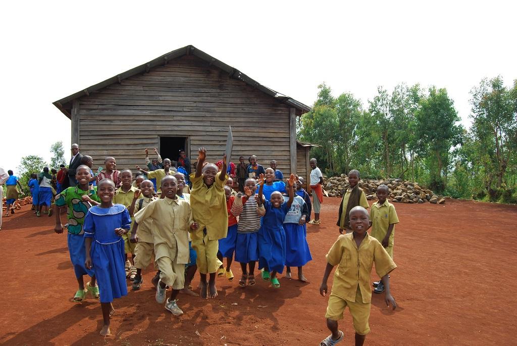Rwandan children outside church