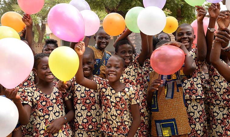 Children celebrating in Togo