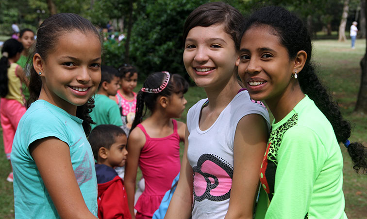 Groups of girls in Colombia