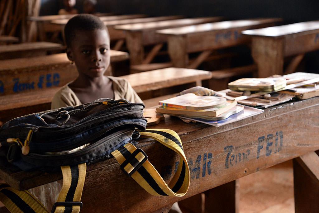 Sitting at a desk in Togo
