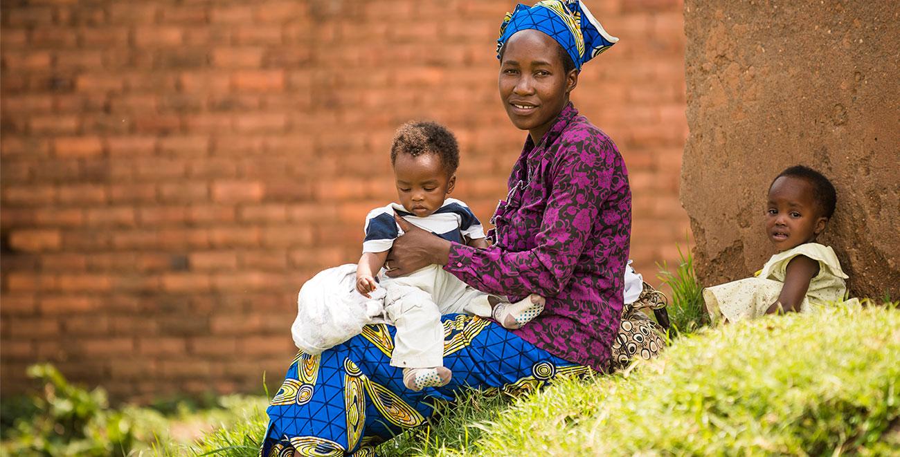 Distributing baby supplies in Rwanda