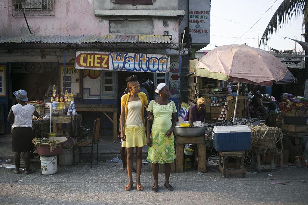 Crossing the road in Haiti