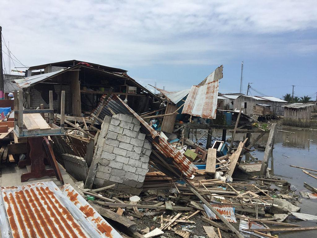 Homes destroyed by Ecuador earthquake