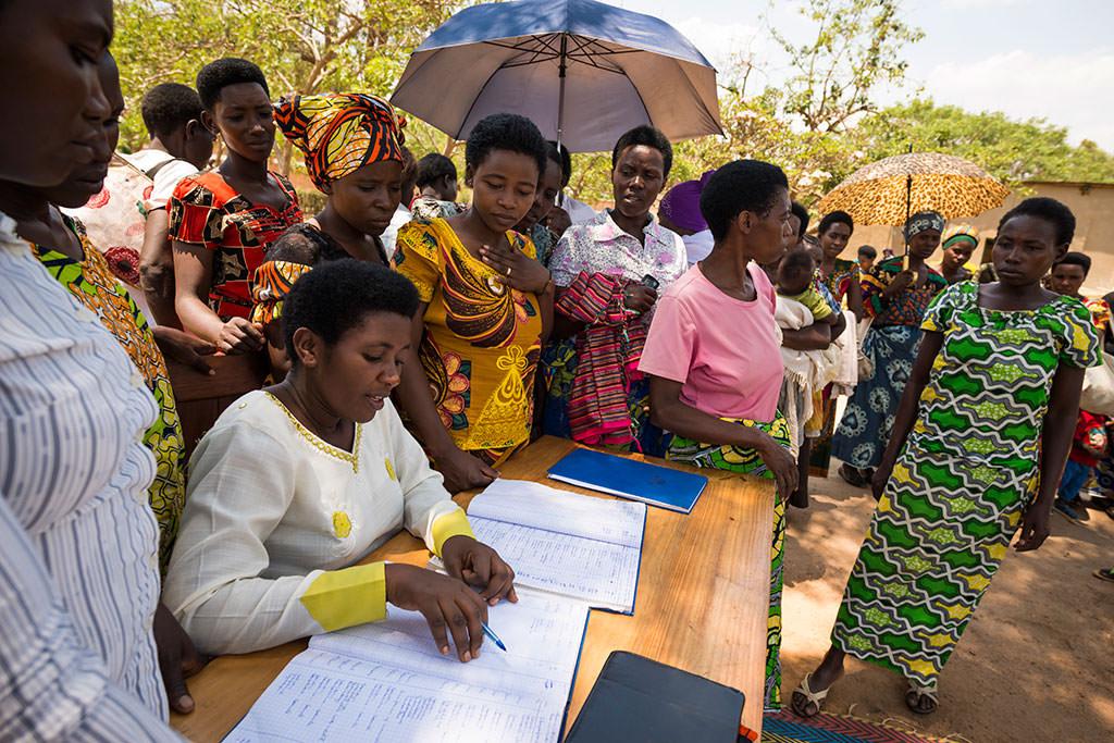 Mothers in Rwanda queuing to receive baby supplies