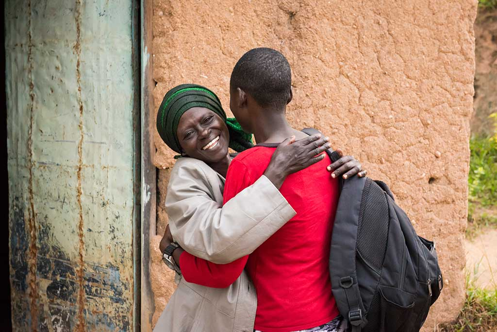 Mother and daughter hugging in Rwanda