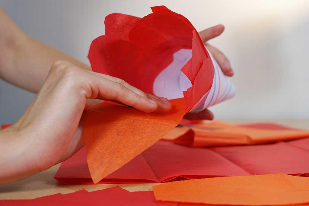 Gluing tissue paper