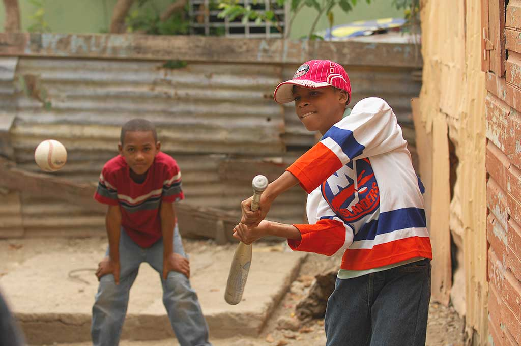 Playing baseball in Dominican Republic