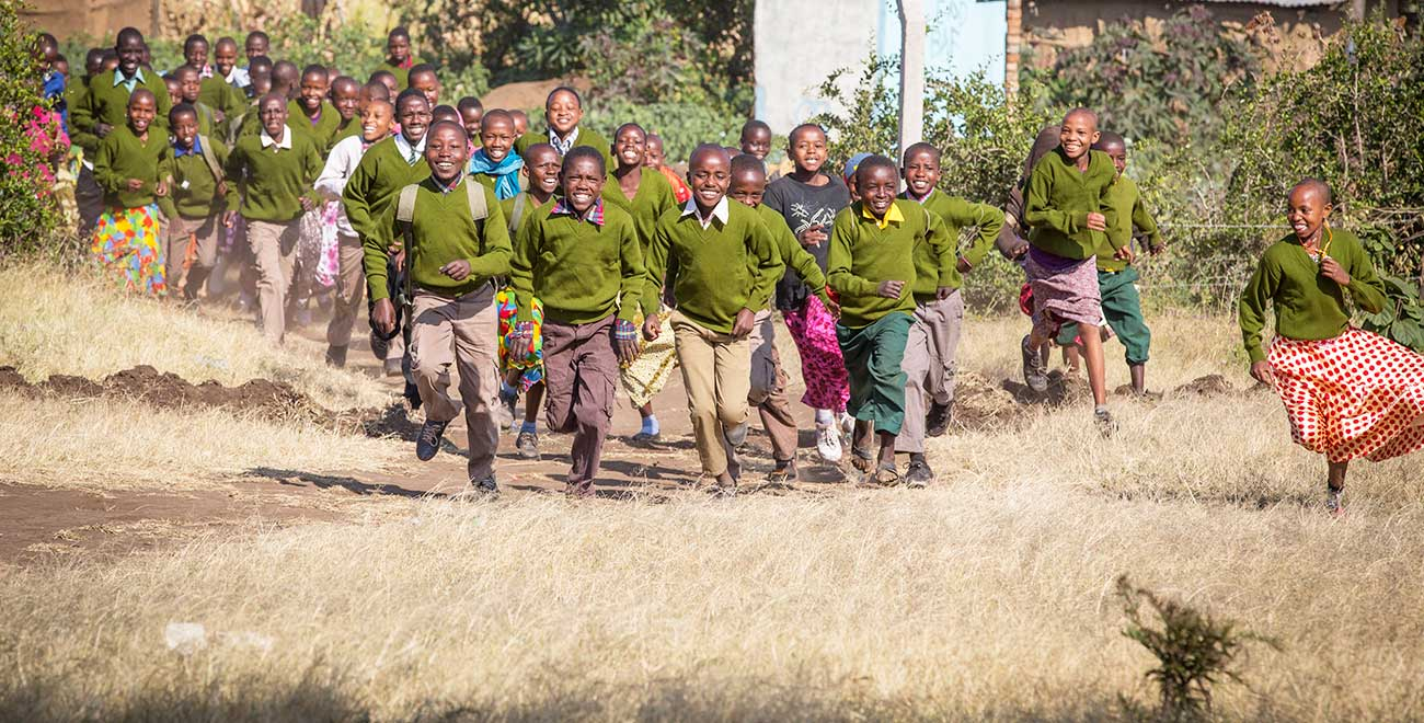 School children running