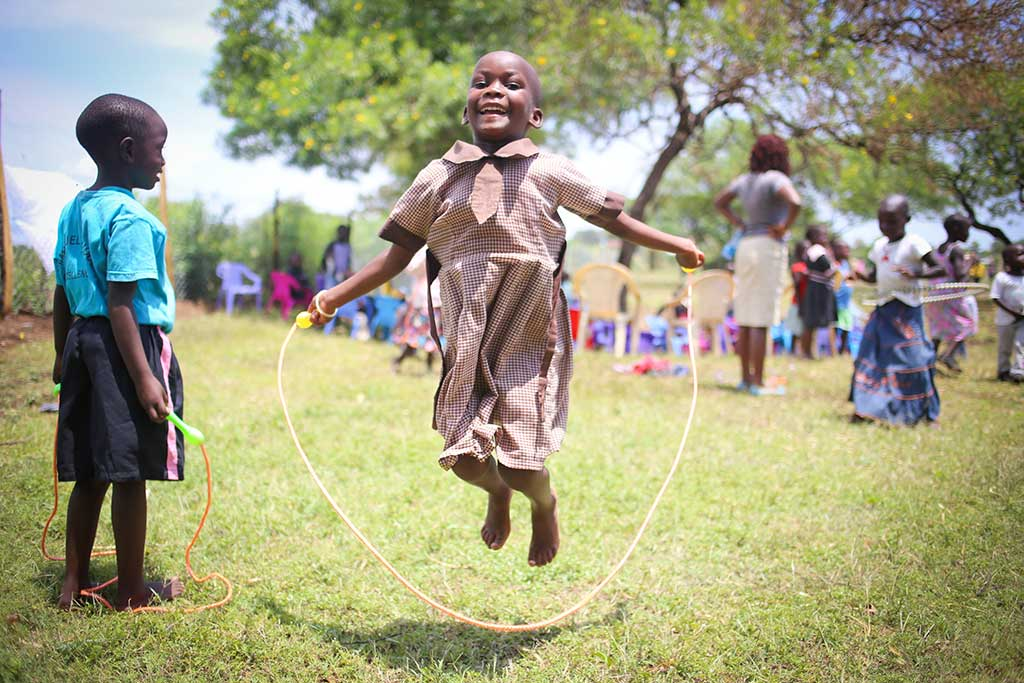 Girls skipping in Kenya