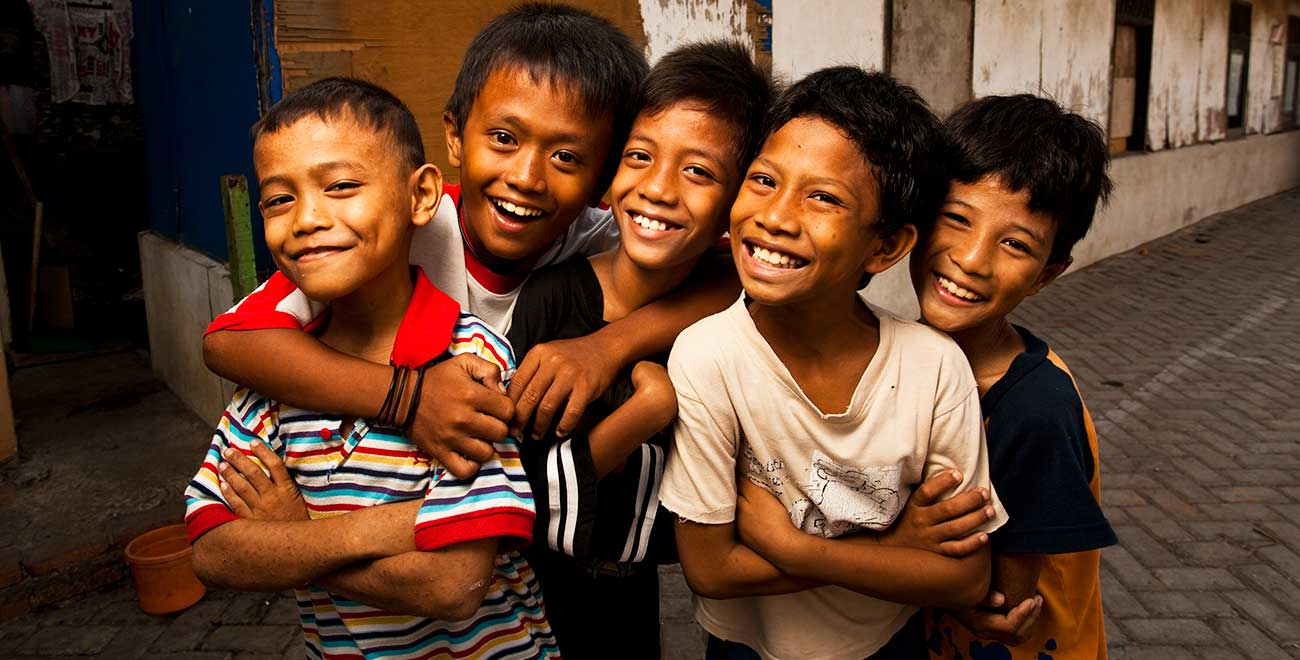 Smiling boys in Indonesia