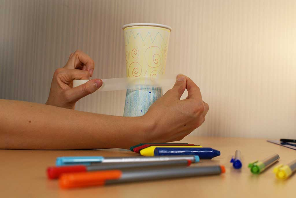 Attaching paper cup