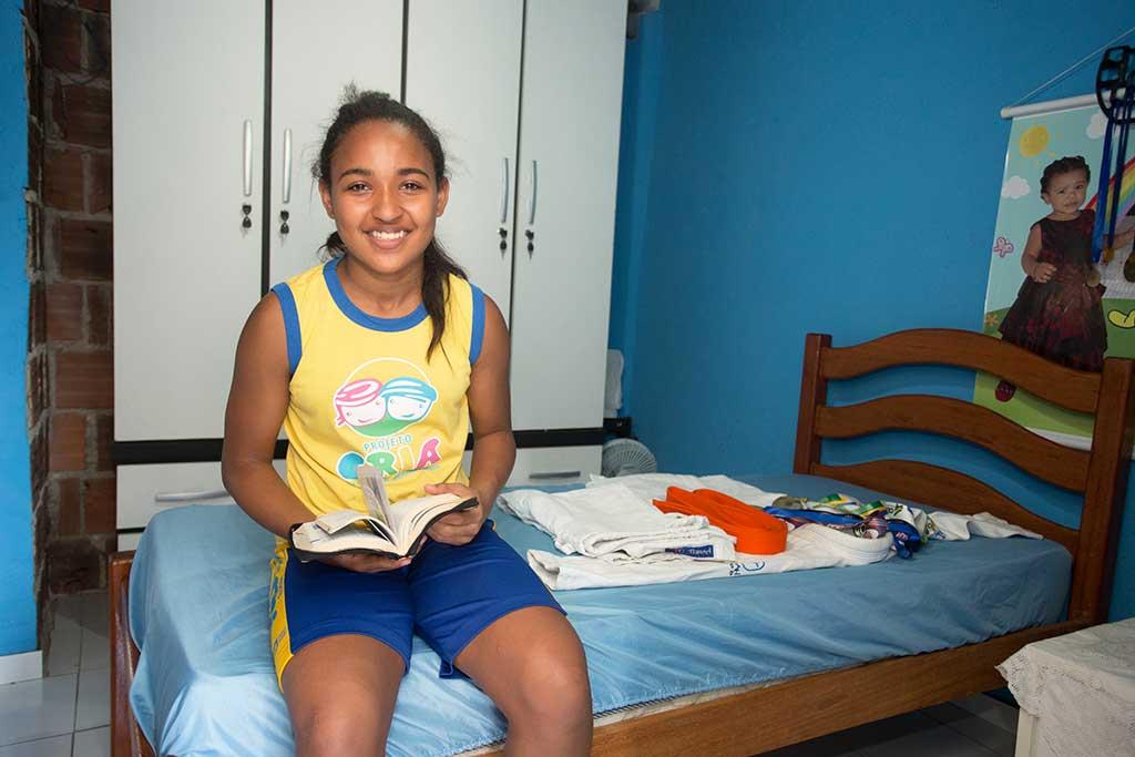 Brazilian girl reading Bible