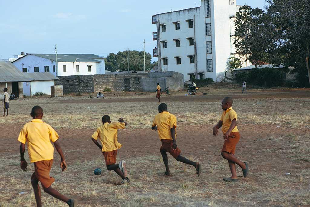 Playing football in Kenya