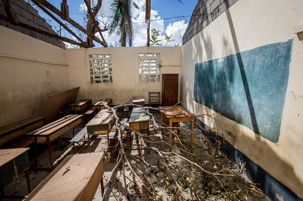 Classroom destroyed by Hurricane Matthew