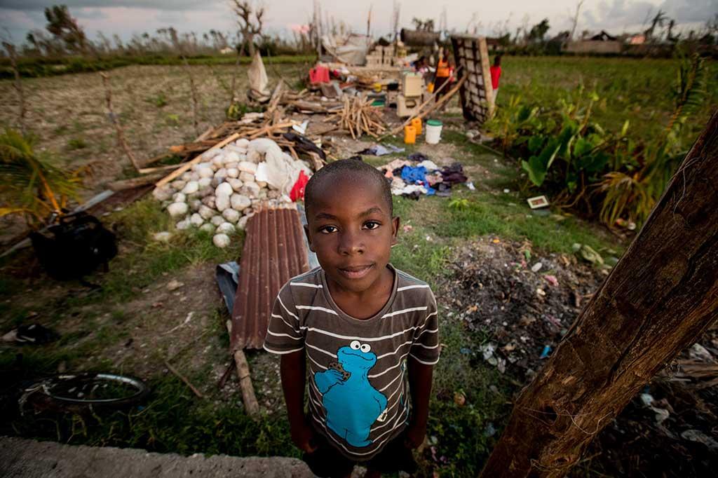 Boy impacted by Hurricane Matthew
