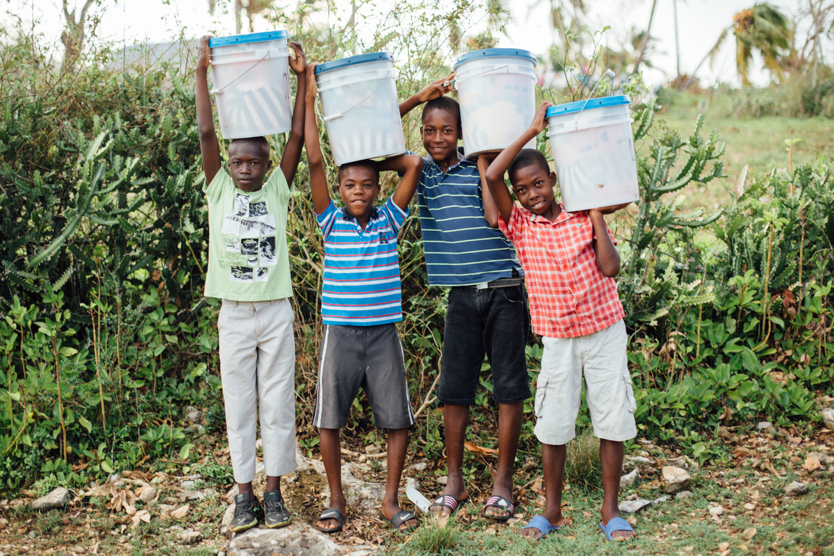 Haitian children after Hurricane Matthew