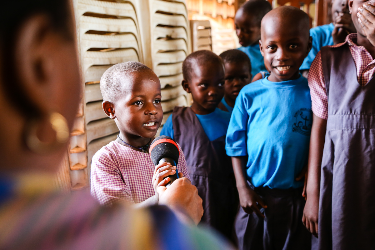 Boy singing in Tanzania