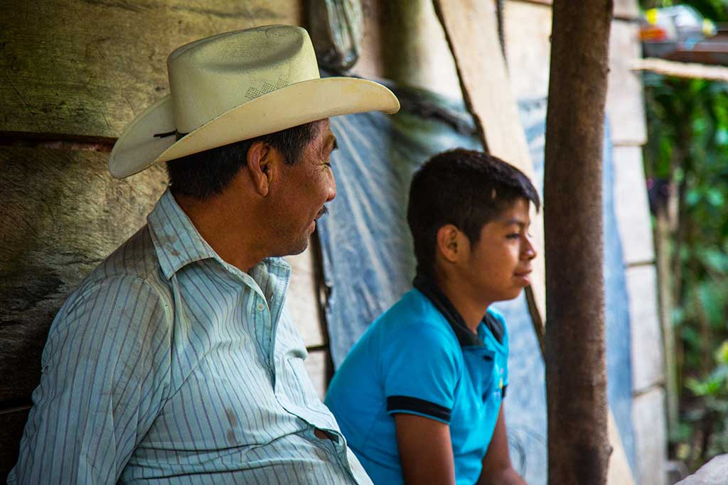 Father and son in Mexico