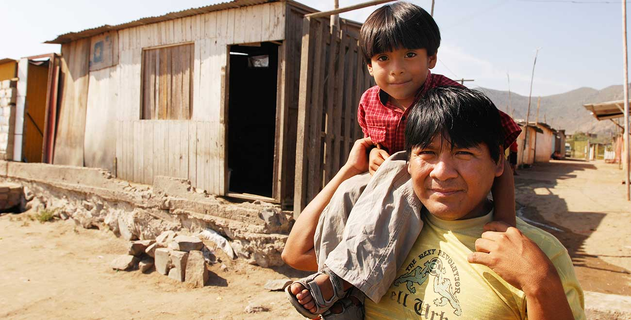 Father and son in Peru