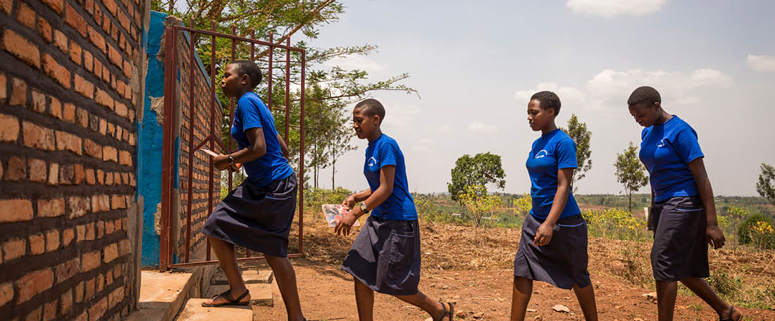 Girls walking in Rwanda
