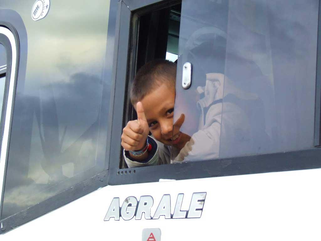 Boy riding on a bus