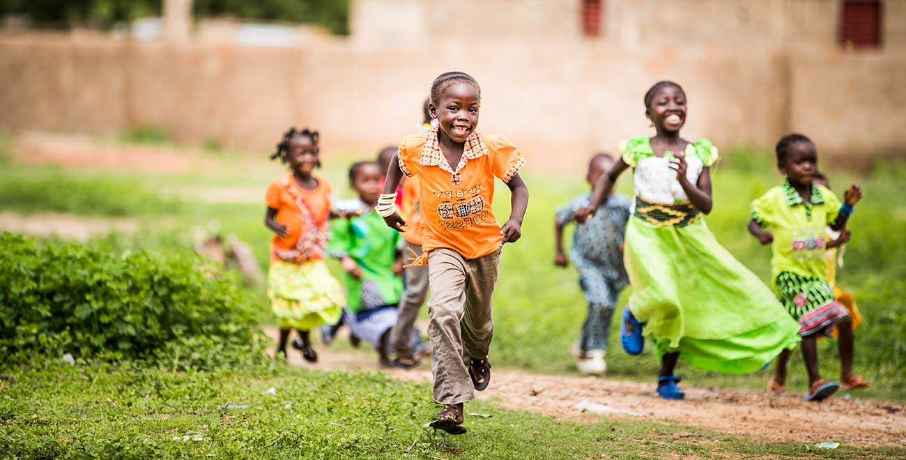 Children running in Burkina Faso